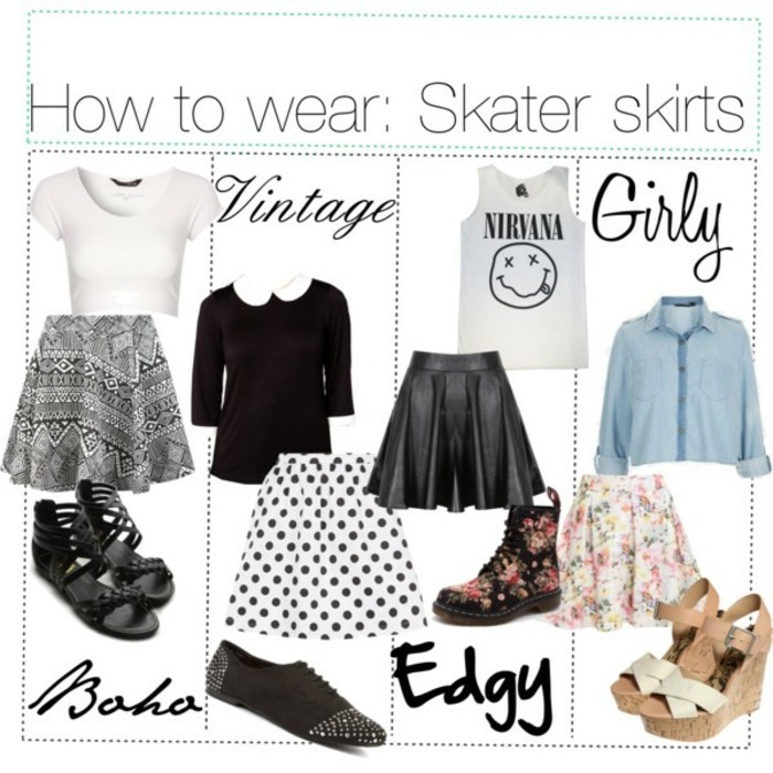 jupe-patineuse-h&m-jupes-patineuse-cuir-cool-idée-à-porter-mode-porter-comment