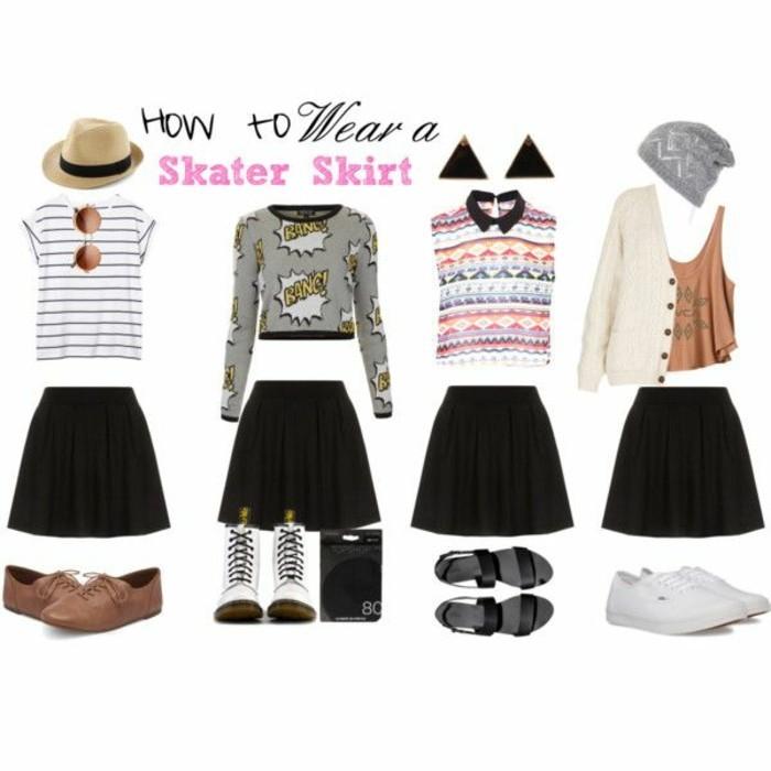 la-jupe-écossaise-jupe-crayon-zara-short-noir-femme-porter-vetement-les-styles-differents