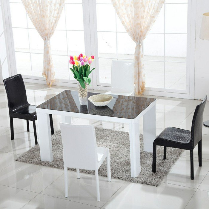 Table de salle a manger design avec rallonge for Table blanche ikea