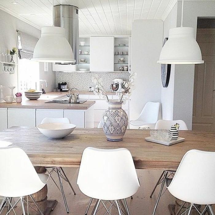 Milles conseils comment choisir un luminaire de cuisine for Table de cuisine blanche