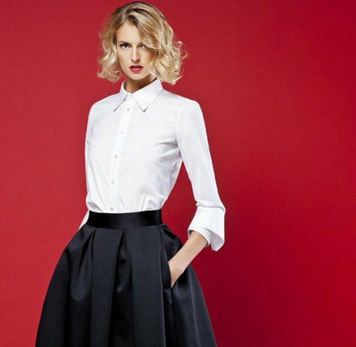 les-plus-cool-chemisiers-femme-chemise-à-carreaux-femme-tenue-de-jour-v-rouge-fond-noire-jupe