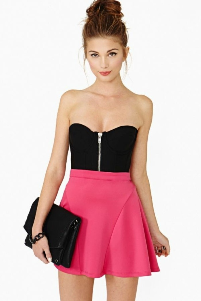 ljupe-écossaise-jupe-crayon-zara-short-noir-femme-porter-vetement-style-rose-neon