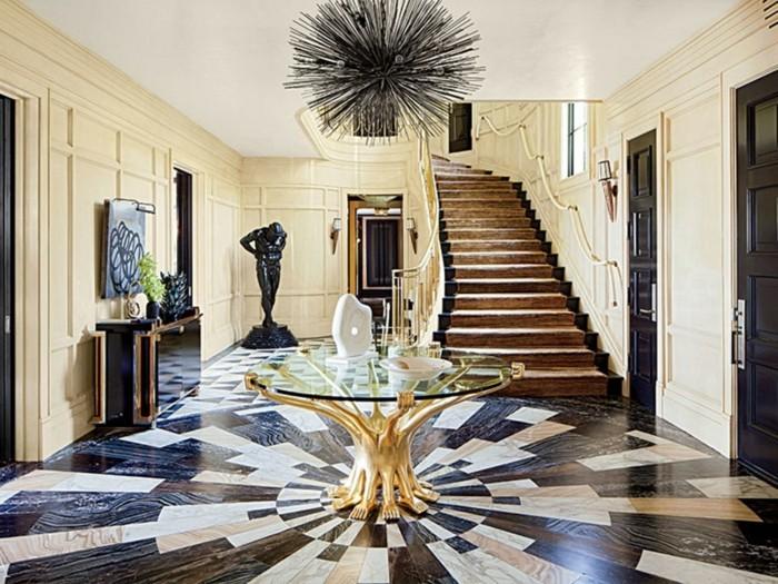lustre-a-pampilles-noir-branches-modernistique