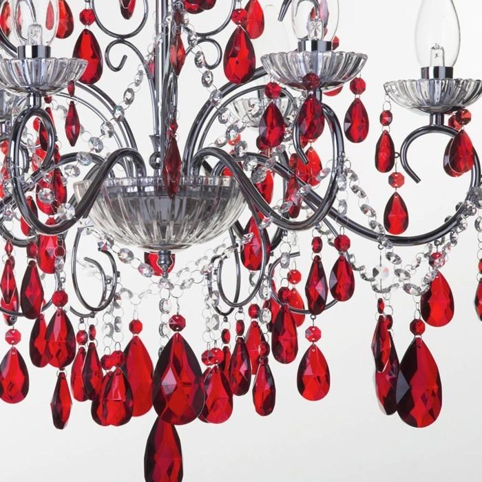 lustre-a-pampilles-rouge-chandelles