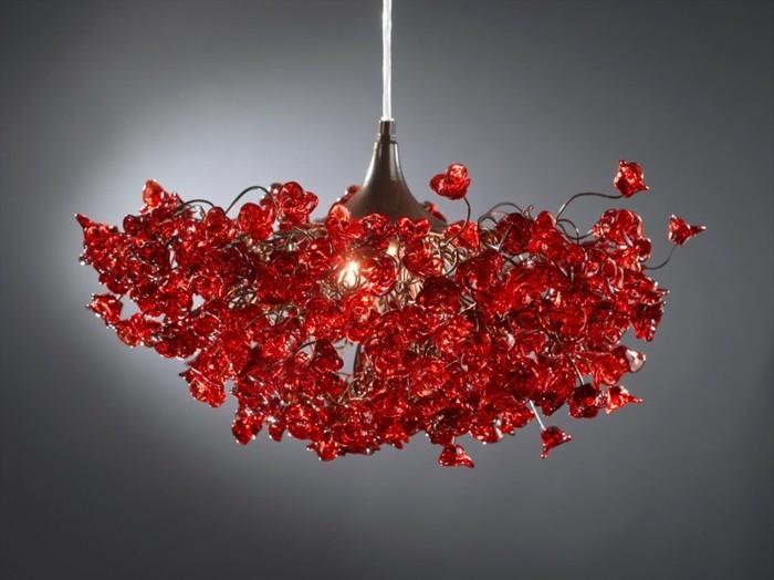 lustre-verre-rouge-fleurs