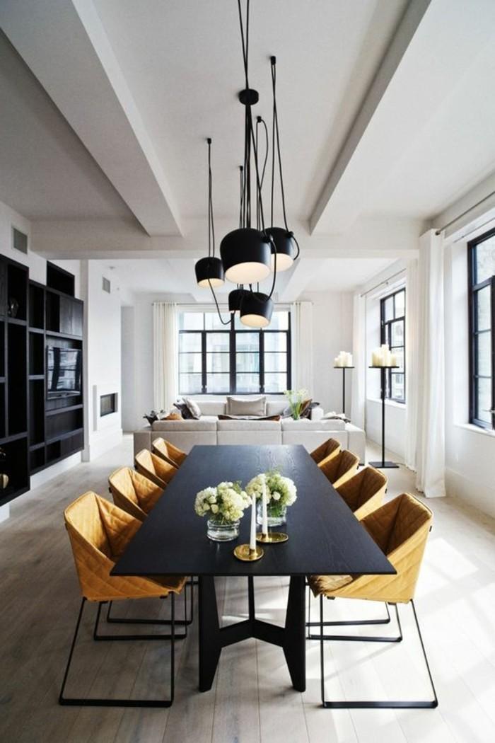lustres-noires-de-cuisine-table-de-cuisine-design-noir-chaises-jaunes