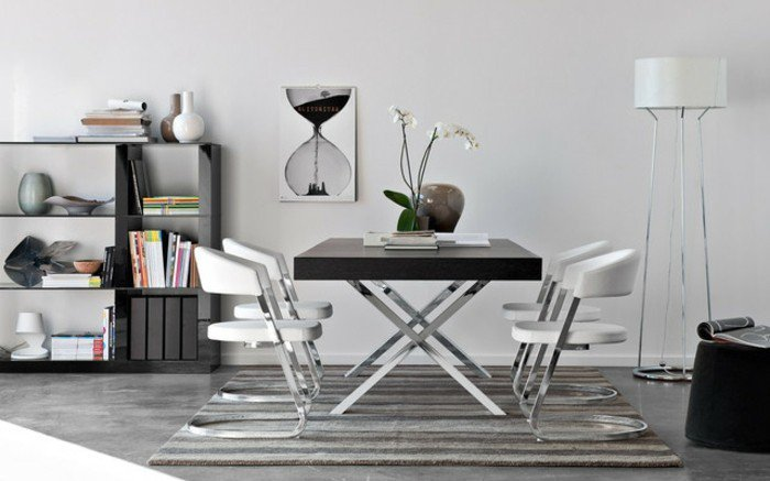 Table de cuisine en verre ukbix for Table salle a manger carree design en verre