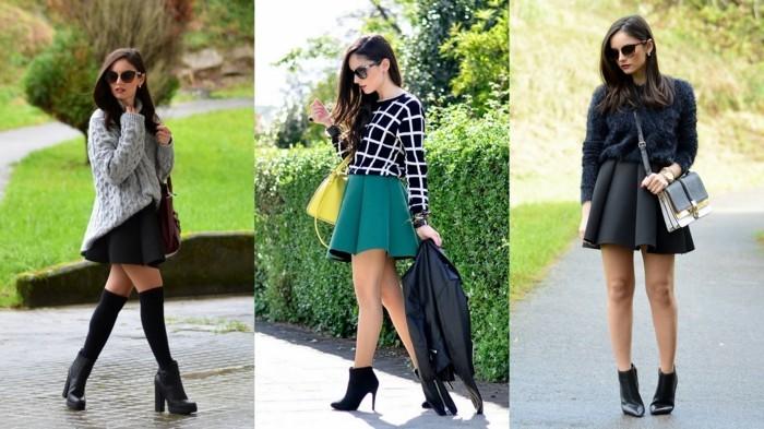 moderne-formidable-jupe-longue-pas-cher-jupe-patineuse-noire-cool-à-porter