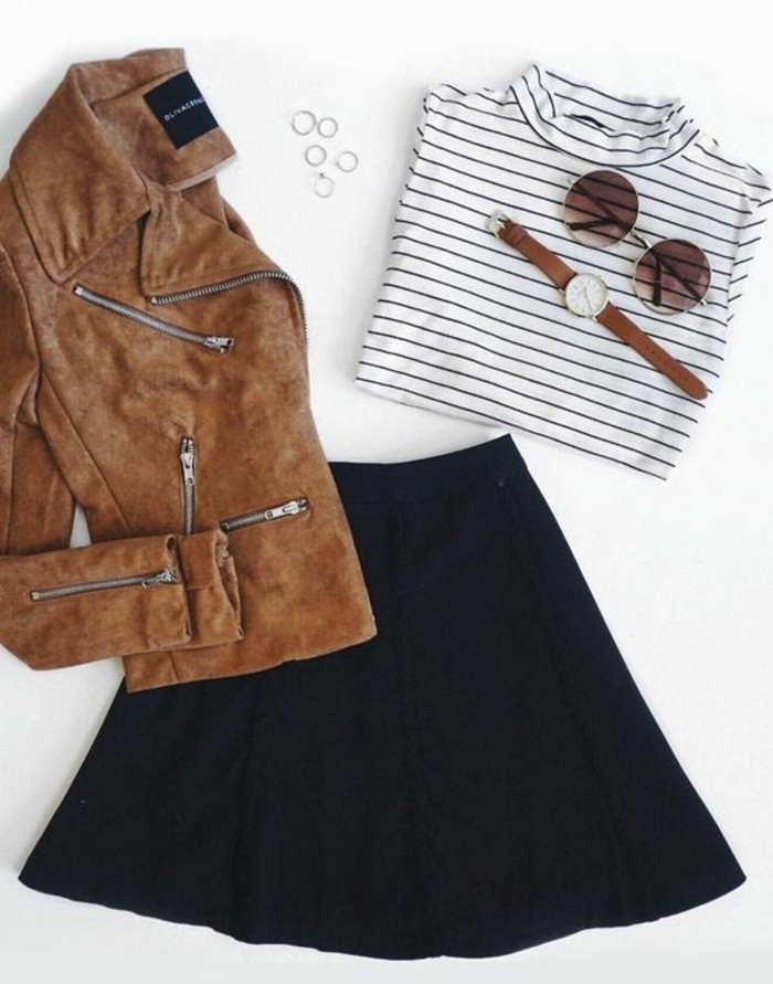 moderne-jupe-longue-pas-cher-jupe-patineuse-noire-cool-à-porter-cool-idee