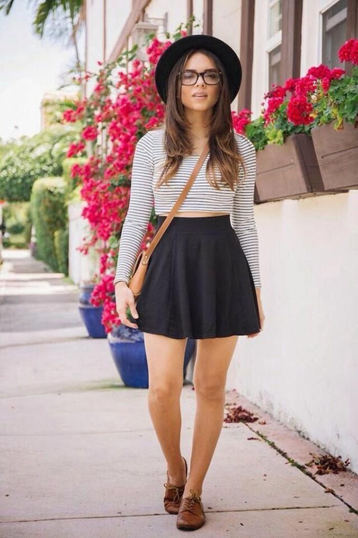 moderne-jupe-longue-pas-cher-jupe-patineuse-noire-cool-à-porter-la-rue