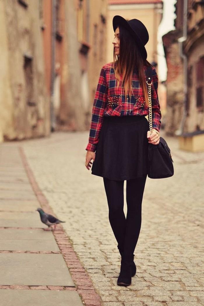 moderne-jupe-longue-pas-cher-jupe-patineuse-noire-cool-à-porter