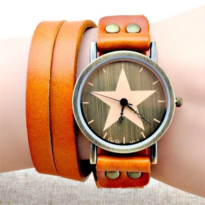 montre-bracelet-cuir-femme-orange-etoile-resized
