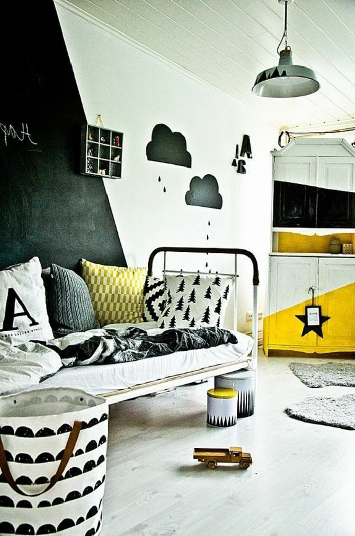 frais deco chambre enfant avec horloge murale noire design. Black Bedroom Furniture Sets. Home Design Ideas