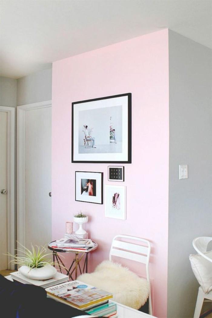 mur-double-couleur-peindre-une-pièce-en-deux-couleurs-rose-et-gris-salon-chic