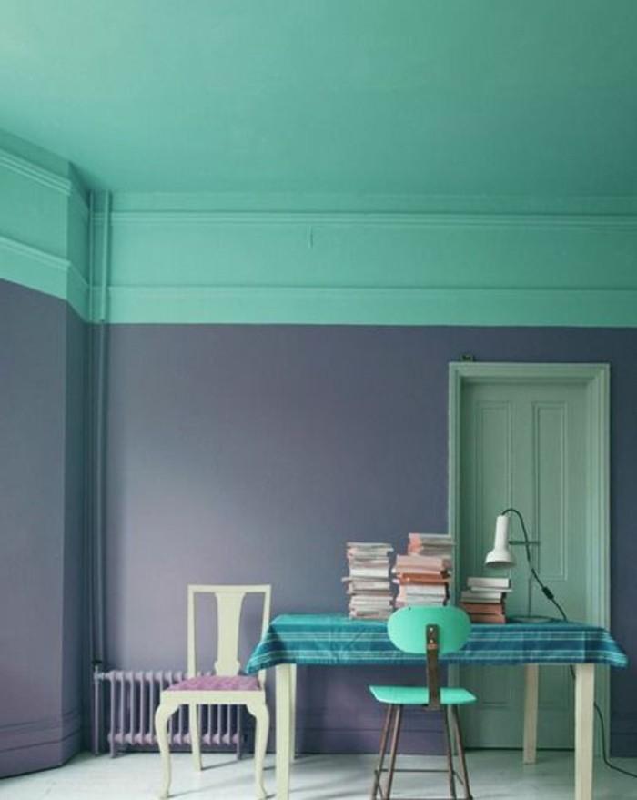 Nos astuces en photos pour peindre une pi ce en deux for Couleur gris bleu clair