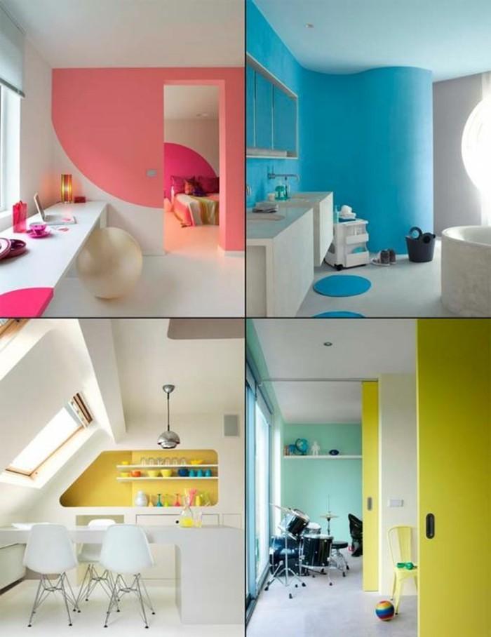 mur-double-couleurs-jaune-blanc-salle-de-sejour-idee-en-photos-peinture-glycéro