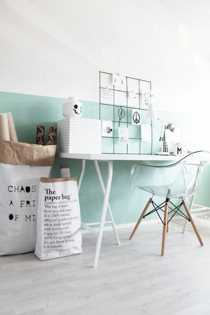 Nos astuces en photos pour peindre une pi ce en deux couleurs - Couleur peinture mur chambre ...