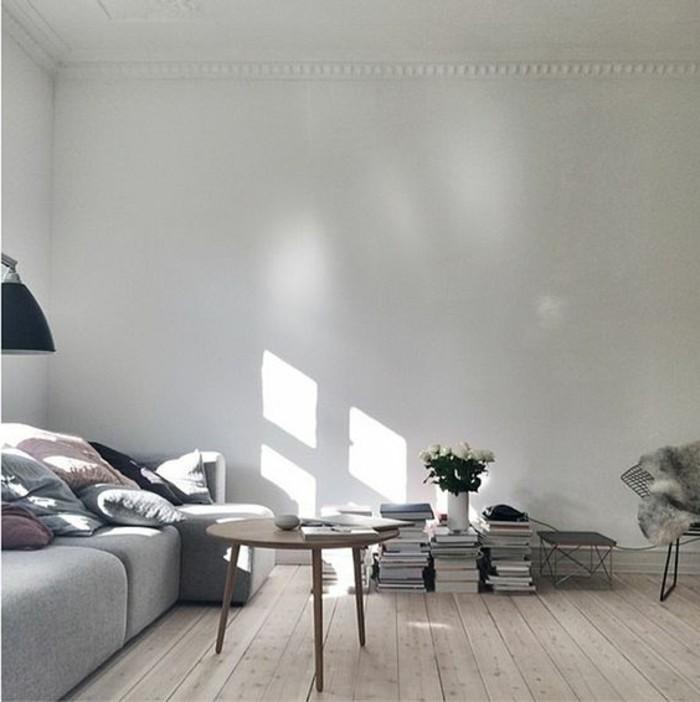 petit-salon-sol-en-bois-clair-canapé-gris-meubles-de-salle-de-sejour-murs-blancs