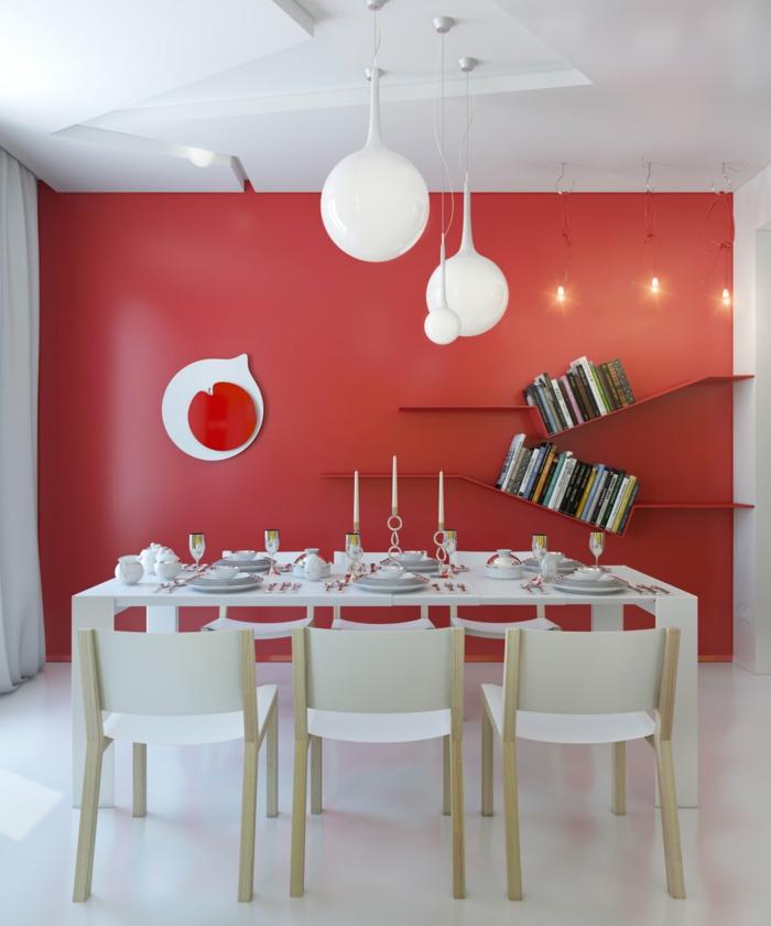 red-white-dining-room-modern-light-fixture