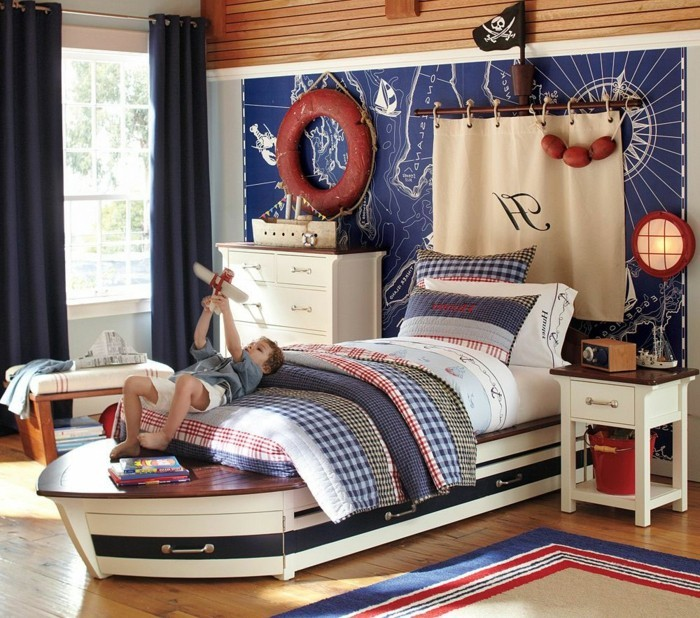 Rideaux chambre fille qui font la diff rence - Rideau style marin ...