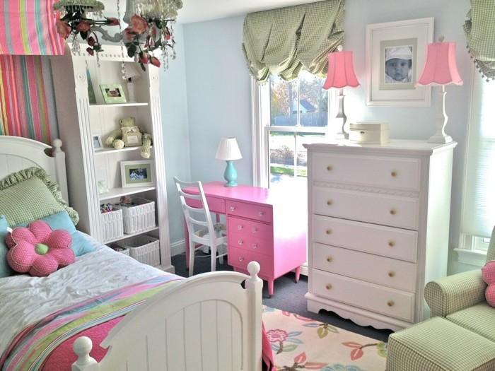 Table De Salon Moderne Blanc Et Noir : rideaux chambre fille coussins fleurs lampadaires petits rose pâle