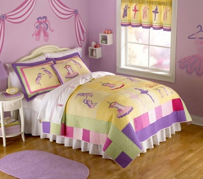 rideaux chambre filles jaune, vert, lila et rose