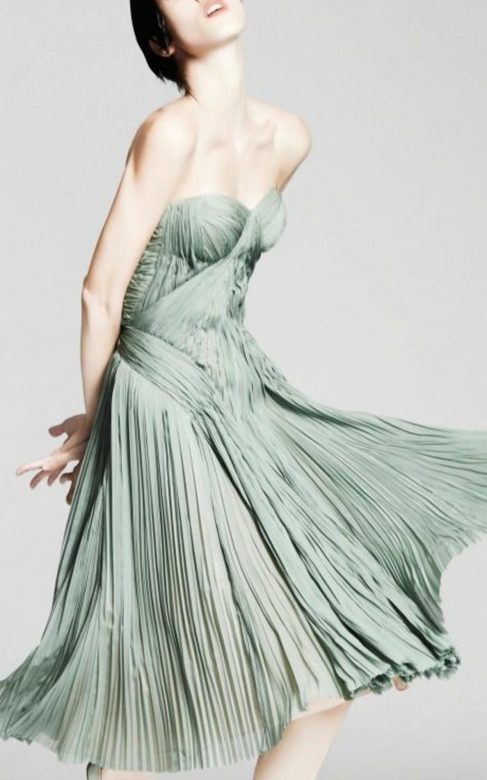 robe-plissée-vert-bleu-jupe-elegant-bleu-robe-mi-longue-bleu-clair