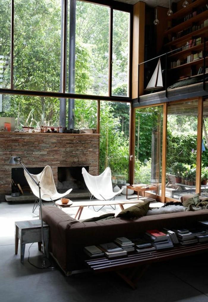 salon-chic-plafond-haut-meubles-de-salon-modernes-idée-peinture-salon-meuble-de-salon