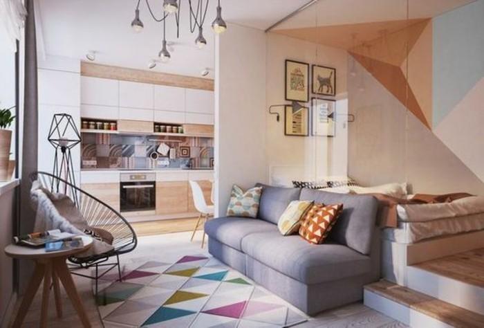 salon-cocooning-aménagement-petit-salon-idee-deco-sejour-tapis-coloré