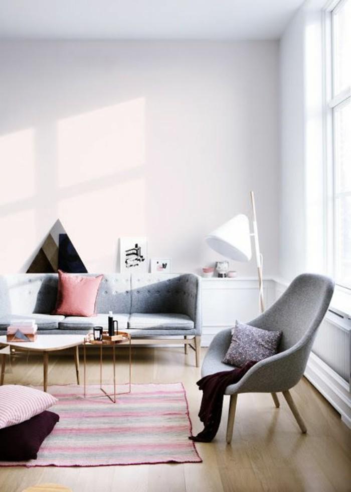 salon-couleur-pale-mur-rose-pale-rose-poudré-meubles-gris-idée-peinture-salon