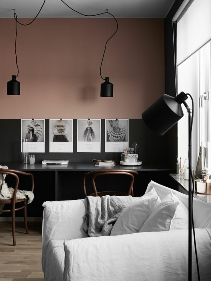 nos astuces en photos pour peindre une pi ce en deux couleurs. Black Bedroom Furniture Sets. Home Design Ideas