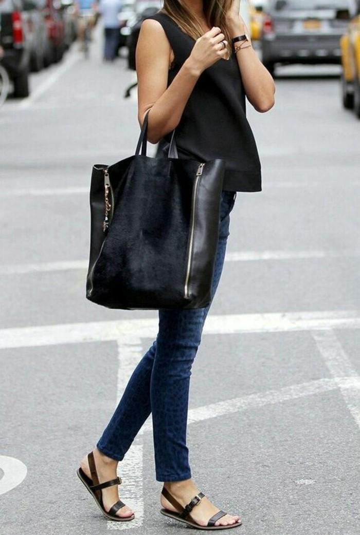 sandales-elegantes-femme-chaussures-d-ete-2016-denim-femme-en-bleu-sac-a-main-noir