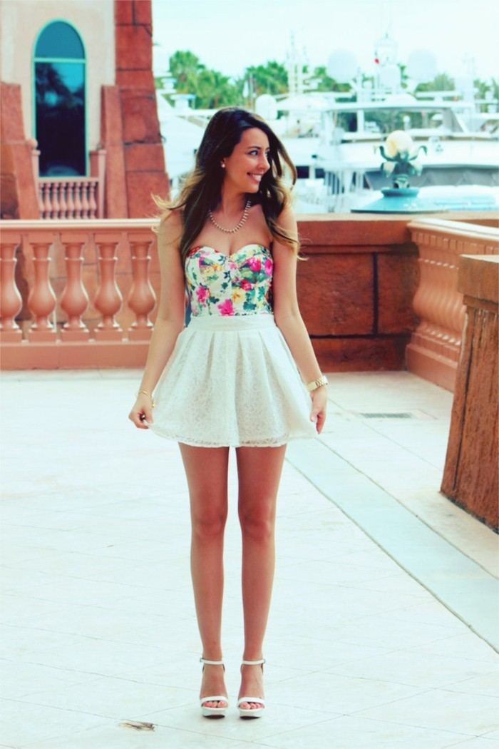 superbe-idée-quoi-porter-jupe-tube-jupe-évasée-robe-boule-style