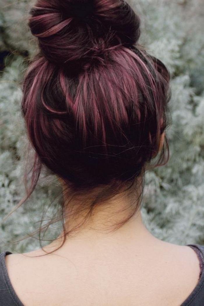 Couleur acajou sur cheveux noir