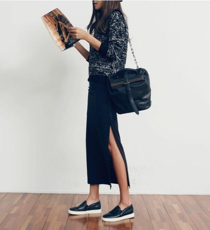 tenue-de-jour-jupe-dentelle-jupe-longue-hive-cuir-noir-baskets