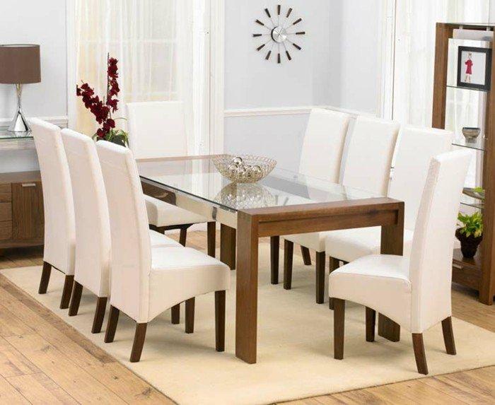 une-table-verre-table-à-manger-extensible-inspiration-pièce-cuisine-chaise-blanche-ikea