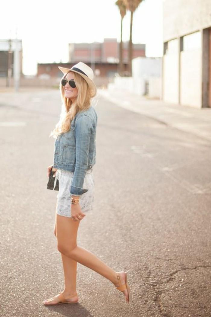 veste-blazer-femme-denim-jupe-courte-femme-chaupeau-beige-femme