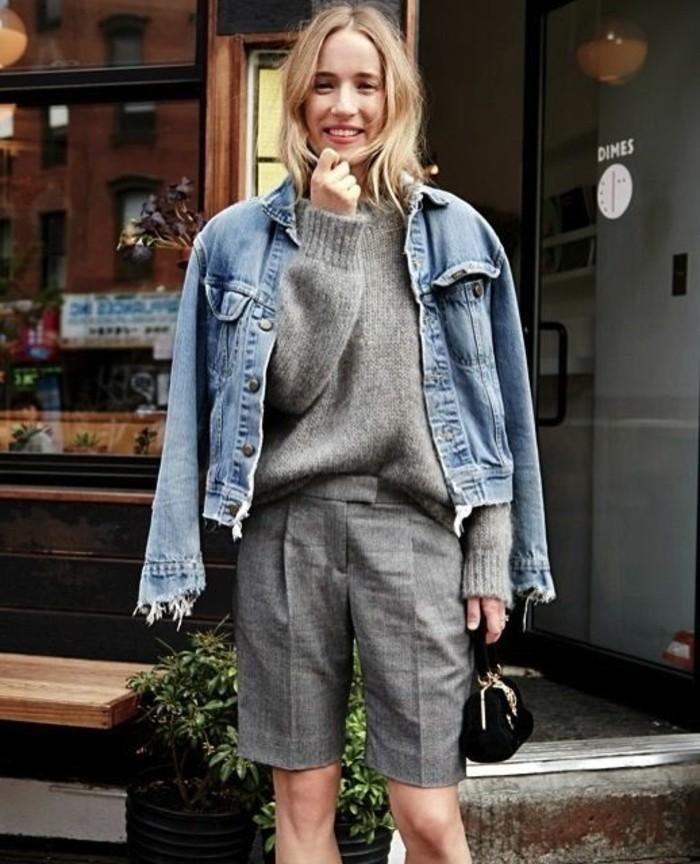 veste-blazer-femme-denim-veste-courte-femme-denim-bleu-femme-autfit-gris-pantalon-mi-court