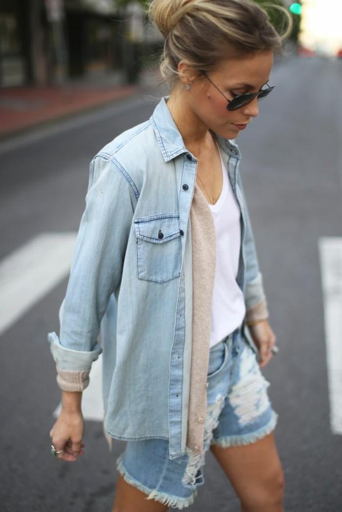 veste-en-denim-femme-pantalon-court-femme-tendances-de-la-mode-2016