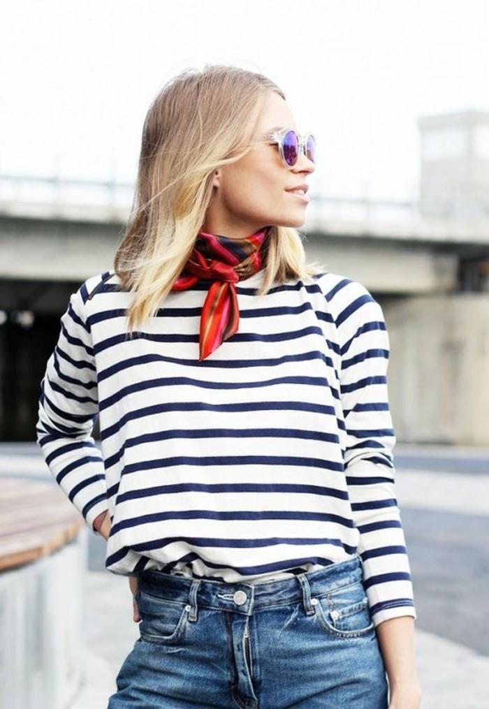 0-foulard-hotesse-de-l-air-denim-classique-bleu-blouse-à-rayures-bleus-foncés