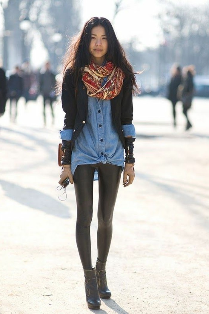 0-joli-accessoire-pour-les-filles-chemis-en-denim-pantalon-slim-en-cuir-echarpe-foulard