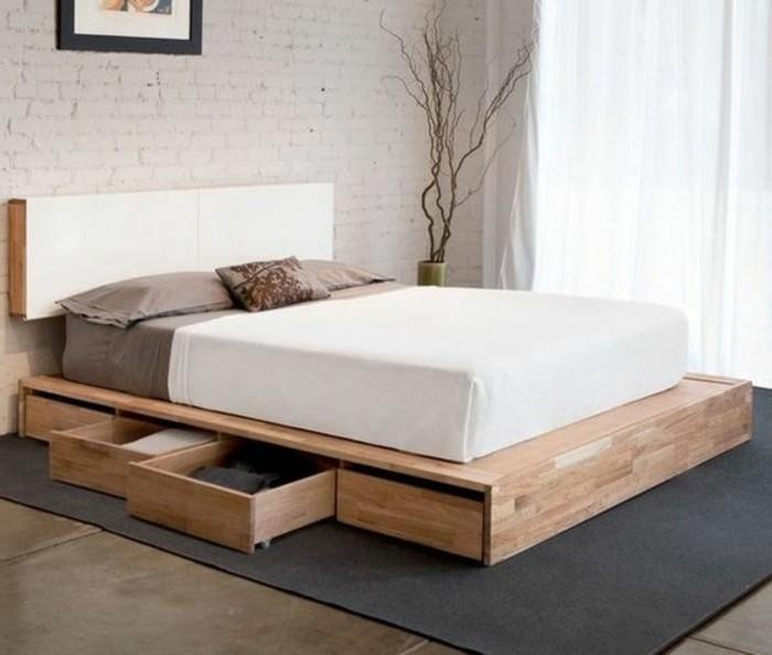 O trouver votre lit avec tiroir de rangement - Lit en bois blanc vieilli ...