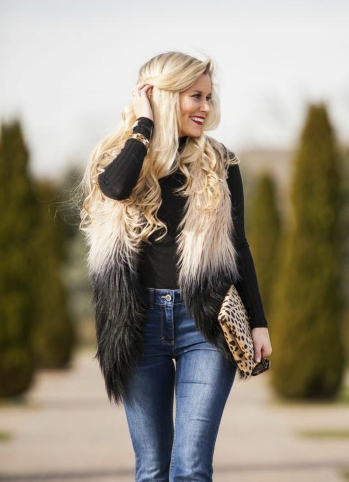 1-denim-bleu-clair-blouse-noire-veste-sans-manche-femme-fourrure-gilet-long-sans-manche-femme