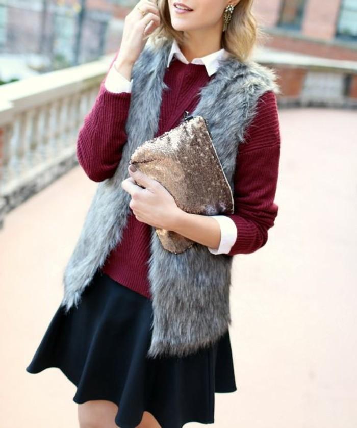 1-joli-gilet-fourrure-gris-blouse-violette-chemise-blanche-sac-a-main-en-paillette-jupe-noire