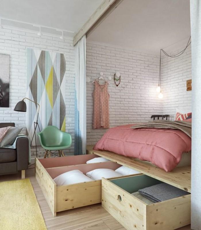 lit double bois clair. Black Bedroom Furniture Sets. Home Design Ideas