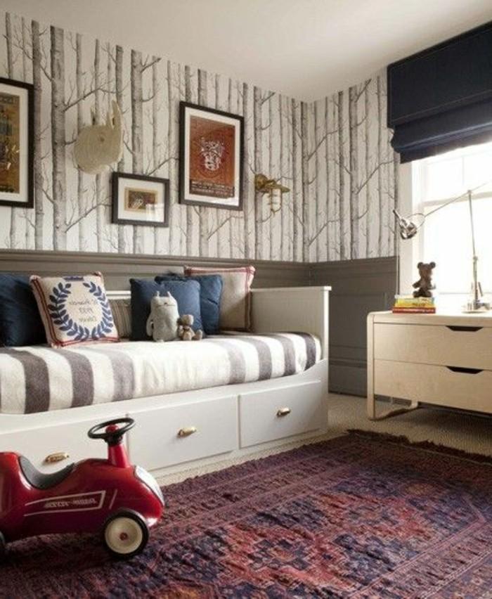 1-joli-lit-enfant-lit-avec-tiroir-de-rangement-tapis-coloré-pour-la-chambre-enfant-papier-peint-a-motis