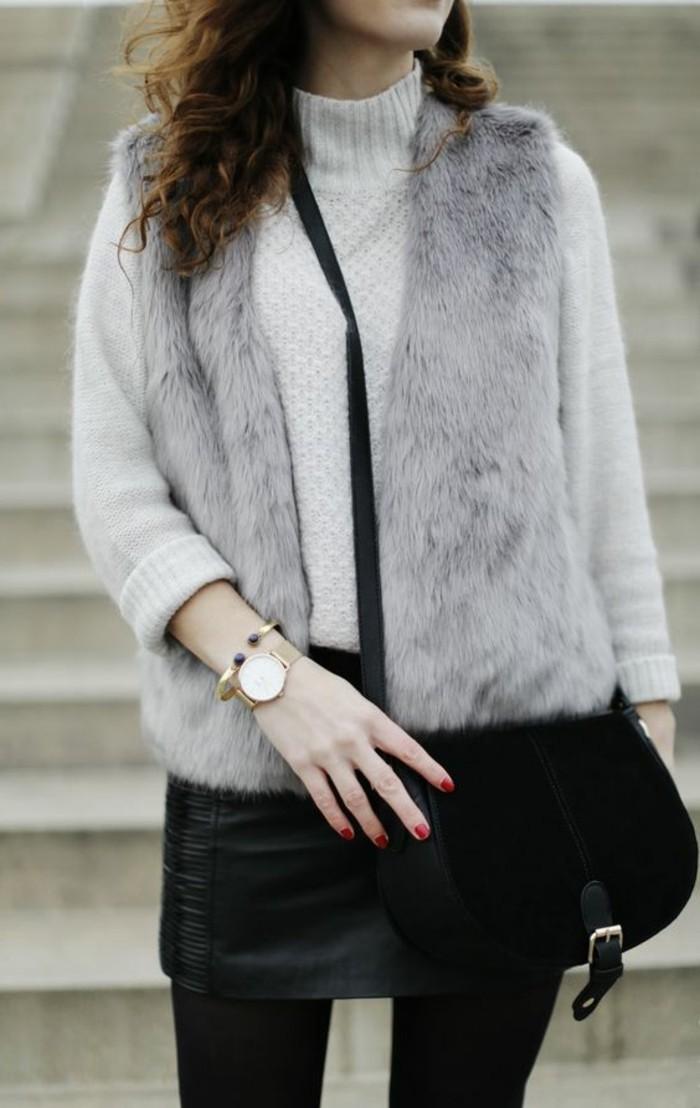 1-jupe-en-cuir-noir-blouse-beige-manteau-femme-fourrure-sans-manche