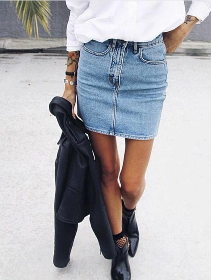 Style avec jupe en jean - Que porter avec une jupe crayon ...