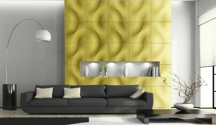 Modern interior with sofa and white carpet 3D