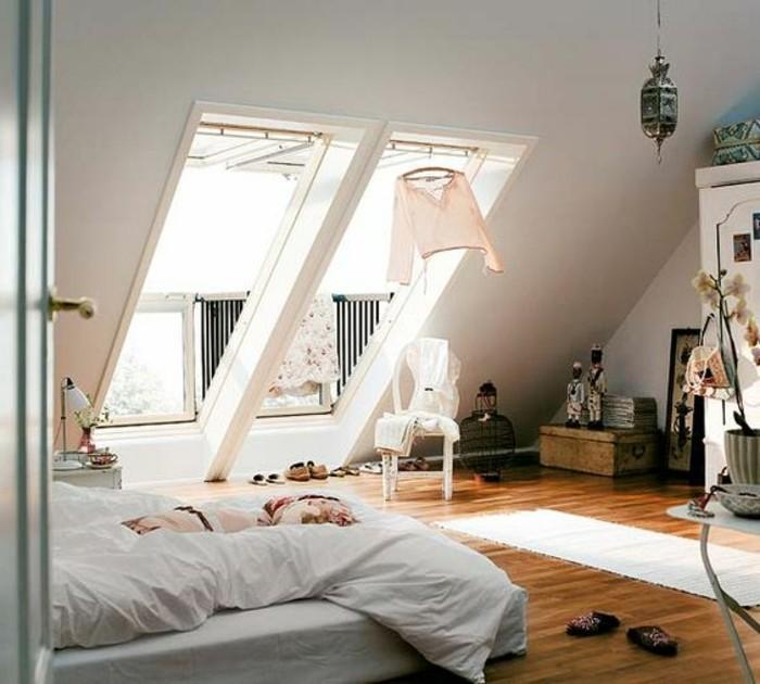 Originale idu00e9e pour une du00e9co rustique dans une chambre sous combles: